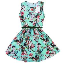 Minx Girls Floral Print Belted Skater Dress Mint Green Mixed 7-13 Years