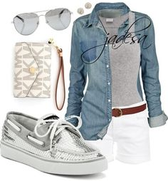 White shorts, grey tank, jean over top, and gray sperrys? Yeahh I want that outfit