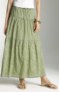 jjill flounce skirt in moss block rpint. 30% off os sale price of 39.99 so I got the matching green cotton cardi