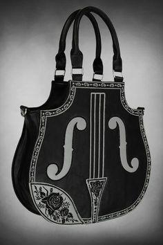Violin Shape Black Gothic Handbag by Restyle