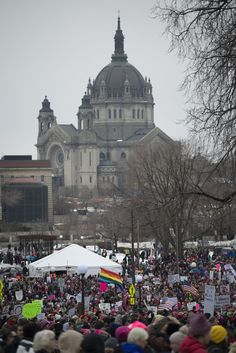 Minnesota women's march and St. Paul's cathedral