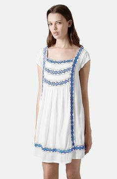 Topshop Embroidered Smock Dress   Nordstrom - may want to size up on topshop, even with the conversion.
