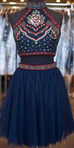 Boho Homecoming Dresses,2 Piece Embroidery Bodice Hoco Dresses,Short Boho Prom Dresses,Navy Two-piece Sweet 16 Dresses.1827