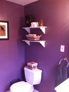 Bathroom Decorating Ideas With Purple purple guest bathroom. needs more storage, but love the two shades