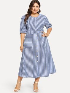 Shop Plus Dual Pocket Button Front Striped Dress online. SHEIN offers Plus Dual Pocket Button Front Striped Dress & more to fit your fashionable needs. Half Sleeve Dresses, Plus Size Maxi Dresses, Maxi Dress With Sleeves, Plus Size Outfits, Dress Outfits, Casual Dresses, Fashion Dresses, Vestidos Plus Size, Looks Plus Size