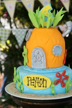 Are you planning a kids birthday party? Then why not throw a under-the-sea themed SpongeBob SquarePants party! Not only is it the highest rating Nickelodeon TV series of all time, it's an absolute favourite with little (and big! Spongebob Birthday Party, 4th Birthday Parties, Boy Birthday, Birthday Cakes, Birthday Ideas, Cake Pops, Party Planning, Camden, Cake Supplies