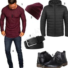 Dunkelrot-Schwarzes Outfit für Männer mit Beanie (m0598) #outfit #style #fashion #menswear #herren #männer #shirt #mode #styling #sneaker #menstyle #mensfashion #menswear #inspiration #shirt #cloth #clothing #ootd #herrenoutfit #männeroutfit