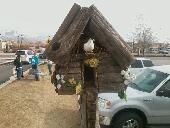 A friend of mine makes these really cool bird houses and out houses.  Check them out.