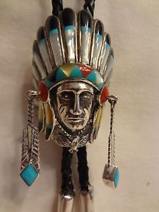 Silver-Zuni-Chief-Headdress-Bolo-Tie-Turquoise-Onyx-Mother-of-Pearl-Coral-Inlay