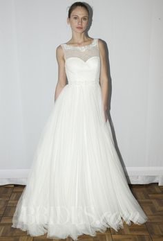 """Umara"" beaded silk and tulle A-line wedding dress with a high illusion neckline and sweetheart bodice, Rosa Clará"