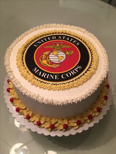 United States Marine Corps Cake by Juicy Cakes by Annie #juicycakesbyannie