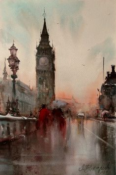 ' Painting by Dusan Djukaric. Watercolor City, Watercolor Artists, Watercolor Landscape, Abstract Landscape, Landscape Paintings, Watercolor Paintings, Abstract Art, Watercolours, Art Aquarelle