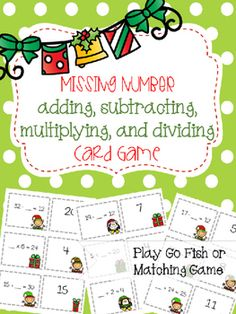 This fun, holiday themed missing numbers card game is perfect for workstations, table groups, small groups, early finishers or test review. Students have two ways to play: as Go Fish or a Matching Game. Coordinating directions and a coordinating record sheet are included.Click Here for more Holiday Instructional MaterialsRelated activities:Adding Partial Sums Scavenger HuntExpanded Notation Treasure HuntExpanded Notation GamesComparing Numbers GamePlace Value Matching GameRounding to Tens…