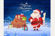 Funny santa with presents Graphics Funny santa with presents. Christmas greeting card background poster. Vector illustration. Merry chr by Krol