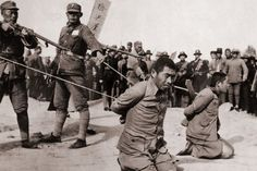 The Second Sino-Japanese War was complicated by its overlap with China's own internal civil war and the larger World War II. These two Chinese men knelt before their execution by Chinese soldiers during the Chinese civil war.