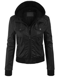 Kogmo Women's Faux Leather Zip Up Bomber Jacket with Removable Fleece & Hoodie-S-BLACK KOGMO http://www.amazon.com/dp/B013XKLZZ2/ref=cm_sw_r_pi_dp_I8HCwb0SYGMGF
