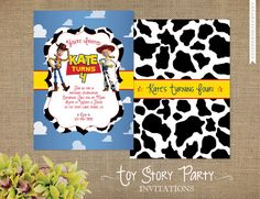 Toy Story Invitations - Woody and Jessie - Toy Story Birthday Party - Optional Matching Stickers and Skinny Return Address Wraps. $15.00, via Etsy.