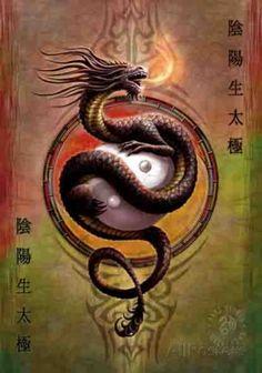 Anne Stokes - Yin Yang Protector Póster en tela