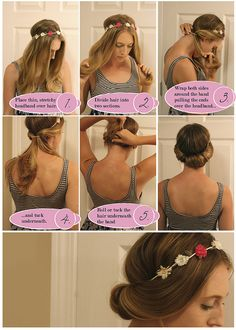 Very interesting up-do, use with a simple headband, hopefully it works with curly hair. :)