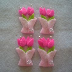 Handmade Tulip Felt Applique (Dark Pink). $5.00, via Etsy. Make as brooch.
