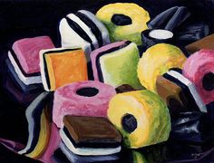 Licorice All Sorts. A taste from my childhood. Sweets Art, Close Up Art, Art Alevel, Sweet Drawings, Liquorice Allsorts, Spiced Coffee, A Level Art, Gcse Art, High Art