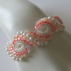 Peyote braceletPearl Blush pale peach pink by PacificJewelryDesign, $65.00