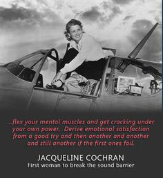 At the time of her death in Jacqueline Cochran held more speed, altitude, and distance records than any other male or female pilot in aviation history. She was also the first woman to break the sound barrier, doing so in 1953 in an Sabre jet. Sabre Jet, Female Pilot, Civil Aviation, Fighter Pilot, Badass Women, Women In History, Good People, Strong Women, Business Women
