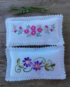 Items similar to 2 spa lavender pads, wrist pads SPA bond p Cushion Embroidery, Embroidery Flowers Pattern, Hand Embroidery Designs, Flower Patterns, Embroidery Stitches, Machine Embroidery, Hawaiian Quilt Patterns, Hawaiian Quilts, Embroidery On Clothes