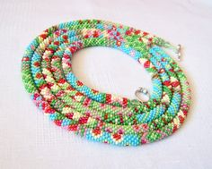 Long Beaded Crochet Rope Necklace  Beadwork  Seed beads by lutita, $85.00