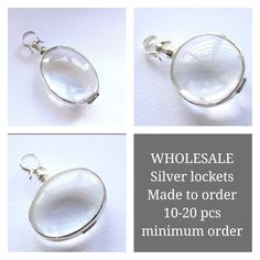Silver lockets at wholesale price for you to make your own jewelry. Minimum order of just 10-20 pieces. Use these lockets to make photo jewelry, botanical necklace, butterfly wing jewelry, etc. Christmas is just a few months away. Made to order only