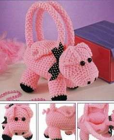 Items similar to Handmade Crochet Amigurumi Piggy Purse Bundle 2 for Buy 2 and Save! Crochet Pig, Crochet For Kids, Crochet Crafts, Hand Crochet, Crochet Toys, Crochet Projects, Crochet Handbags, Crochet Purses, Childrens Purses