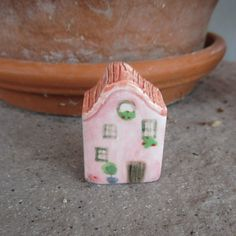 Clay Pink Tiny House,Little Clay House,Cute Fairy House,Pink House,Tiny House,Miniature Pink House,Terrarium,Small details,Small village by TatjanaCeramics on Etsy