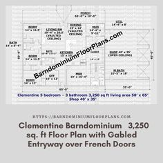 $595. 5 Bed – Clementine 3 Bath – 3,250 sq. ft.– with Gabled Entryway over French Doors. We sell semi-custom Barndominium floor plans and provide helpful tips to design and build your home whether it is DIY or you are paying a company. #architecture #barndominiums #home #modernbarn #barnhomefloorplans #beautifulbarn #homefloorplan #barnhomedesign #housedesign #barndominiumfloorplans #floorplan #dreambarn #barnhouse #barndominiumliving #barndominiumdesign #office #garage Metal Barn Homes, Metal Building Homes, Pole Barn Homes, Building A House, Pole Barn House Plans, House Floor Plans, Open Ceiling, Barndominium Floor Plans, Modern Barn