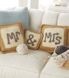 Mr. and Mrs. Pillows | Crochet Pillows | FREE Crochet Pattern from @Jo-Ann Fabric and Craft Stores | Wedding Gift Ideas
