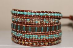 Bracelet wrap beaded leather bohemian wrap by homemadewithpleasure