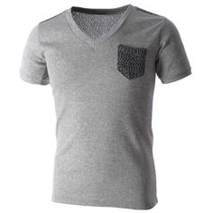 Mens V-Neck Pocket Shoulder Knit Patches Tee Shirt (TV1004) #BLACKFRIDAY