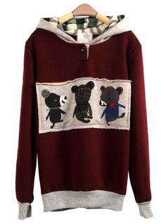 Red Wine Patch Letters Hooded Sweatshirt$43.00