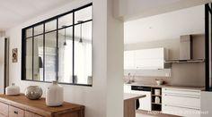 20 Excellent Pictures Of Verriere Cuisine Price - - Kitchen Room Design, Kitchen Nook, Home Room Design, Glass Kitchen, Indoor Glass Doors, Küchen Design, Interior Design, Pooja Room Door Design, Apartment Living