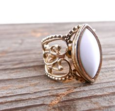 Vintage Filigree Ring  Gold Tone 1970s White by MaejeanVINTAGE, $15.00