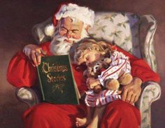 This counted cross stitch pattern of Santa reading Christmas Stories to a girl was designed from the beautiful Artwork of Tom Browning. Christmas Tale, Christmas Scenes, Noel Christmas, Christmas Books, Father Christmas, Christmas Pictures, Vintage Christmas, Xmas, Santa Pictures