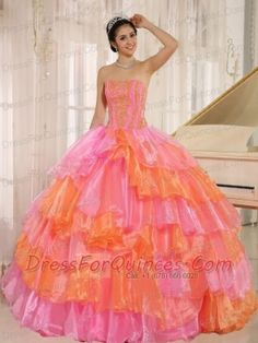 Quinceanera Dress Ruflfled Layers and Appliques Decorate Up Bodice For Rose Pink and Orange Customize