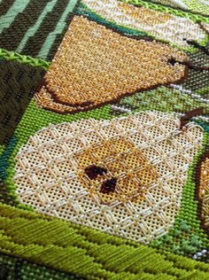 Love the pears.  From It's not your Grandmother's Needlepoint: Pear Collage Finale!