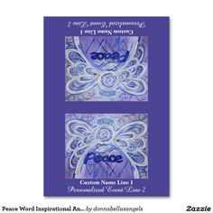 Peace Word Inspirational Angel Custom Table Tents Table Cards