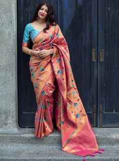 Peach Banarasi woven Silk Saree with attached blouse piece. This saree comes without fall and Picco and unstitch blouse, Colour: peach Recommended Fabric Care: Dry Clean Indian Silk Sarees, Soft Silk Sarees, Indian Beauty Saree, Satin Saree, Cotton Saree, Brocade Saree, Indian Gowns, Indian Outfits, Silk Saree Kanchipuram