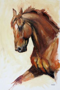 """Beautiful Equine horse LE print 'Fervor' from an original oil by Heather Irvine 12""""x16"""" individually signed and mounted"""
