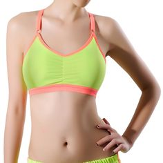 Women Padded Breathable Stretch Seamless Sports Bra Adjustable Strap Cross Back Fitness Yoga Top Drop Shipping #Affiliate