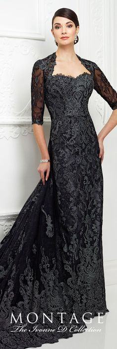 Formal Evening Gowns by Mon Cheri - Fall 2017 - Style No. 217D83 - black lace sheath evening dress with 3/4 sleeves, keyhole back and detachable train