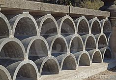 Photo about Decorative arched concrete blocks for outdoor fence. Image of fence, abstract, design - 14305492 Concrete Casting, Concrete Wall, Brick Wall, Concrete Architecture, Architecture Details, Decorative Concrete Blocks, Breeze Block Wall, Outdoor Screens, Brick Block