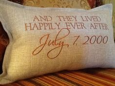 Pillow And They Lived Happily Ever After with Your Date  Embroidered Pillow Cover - Wedding Gift via Etsy