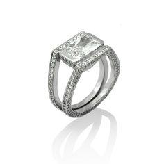 Engagement ring, Wedding ring, Platinum, Diamonds 3.38ct (Center – Radiant cut 2.03ct) by Keiko Mita